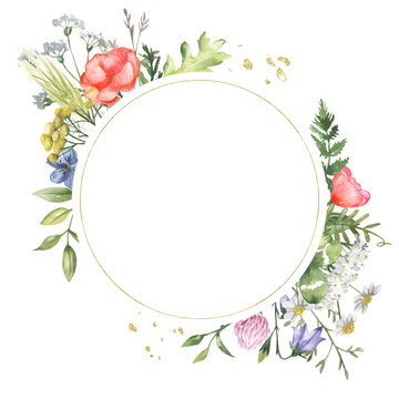 Golden geometric frame with watercolor wildflowers. Template for the text in the form of a square, heart, circle, rhombus. Great for cards, invitations, greeting cards, weddings, quotes, patterns, bou