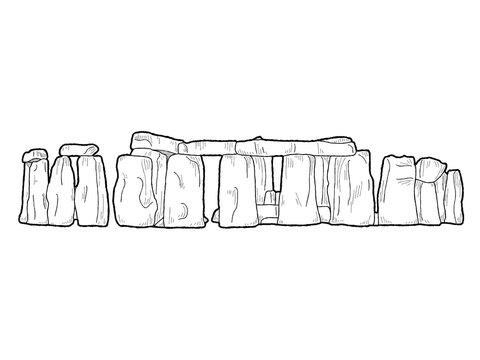 Stonehenge, Wiltshire, England: Vector Illustration Hand Drawn Landmark Cartoon Art