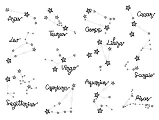 12 Zodiac Star Vector Illustration Hand Drawn Landmark Cartoon Art