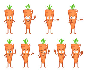 Vector illustration of a cartoon carrot character showing different hand gestures