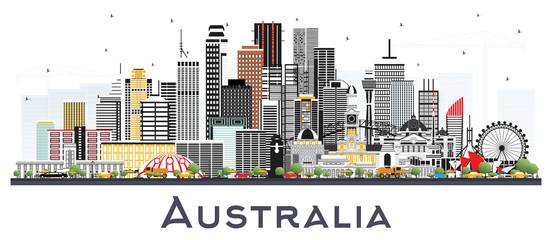Australia City Skyline with Gray Buildings Isolated on White.