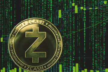 coin zcash zec cryptocurrency on the background of binary crypto matrix text and price chart.