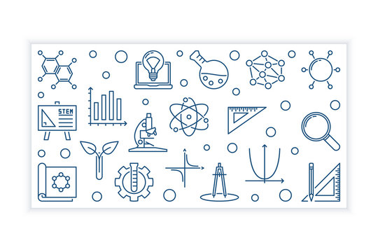 STEM concept minimal horizontal banner in thin line style. Vector illustration