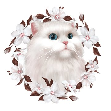 Cute white cat illustration. T-shirt print, card. Wreath of Flowers