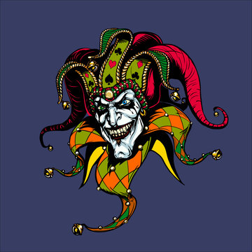 Joker. Angry jester in the cap. tattoo