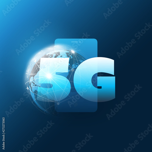5G Network Label in front of a Smart Phone and Earth Globe