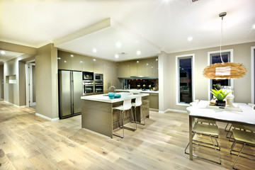 Modern kitchen and dinning area interior view of a house