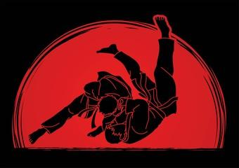 Judo sport action cartoon graphic vector