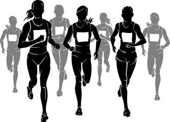 Women Marathon Silhouettes