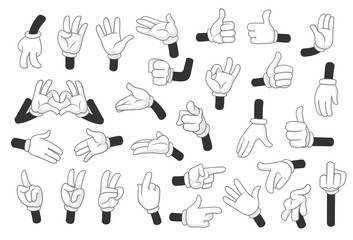 Cartoon gloved hands symbols vector illustration objects isolated on a white background