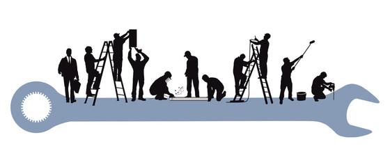 Obraz Techniker und Handwerker bei der Reparatur - fototapety do salonu