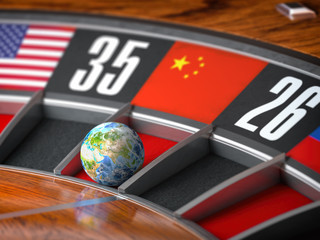 Earth as a ball of casino roulette with  flag of China in winning number. Time of world leadership of China and winning in world trade war concept,