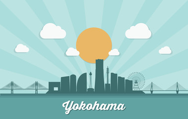 Fototapete - Yokohama skyline - Japan - vector illustration - Vector