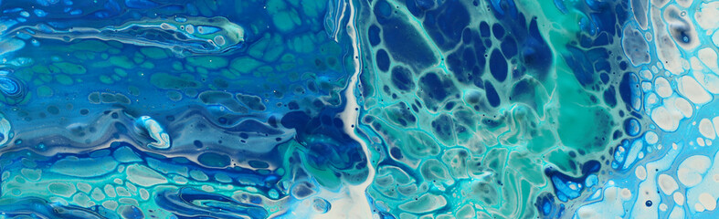 photography of abstract marbleized effect background. Blue, mint and white creative colors. Beautiful paint. banner Wall mural