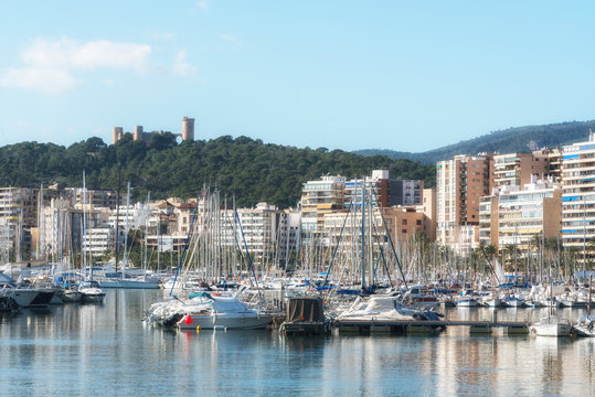 Panoramic view of the marine port and Bellver castle in Palma de Mallorca, Balearic islands, Spain