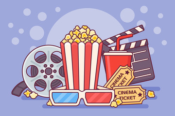 Movie theater poster with popcorn, clapperboard, soda, tickets, 3d glasses and filmstrip. Cinema banner design vector illustration.