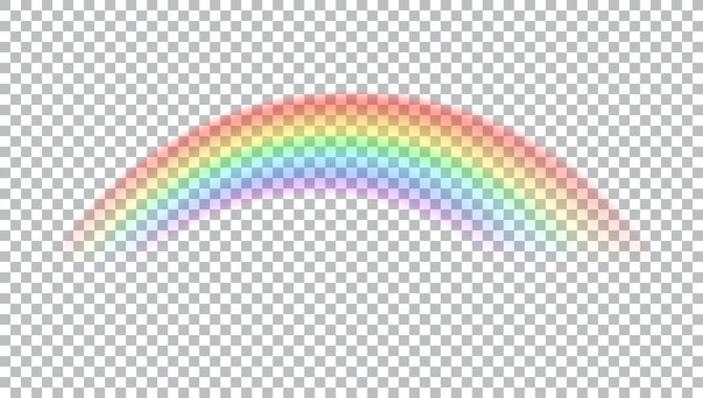 Colored transparent rainbow. Vector illustration. Symbol of good luck and right path. Colorful weather element. Spectral gradient on the arc. Vector rainbow for overlaying on beautiful landscapes.