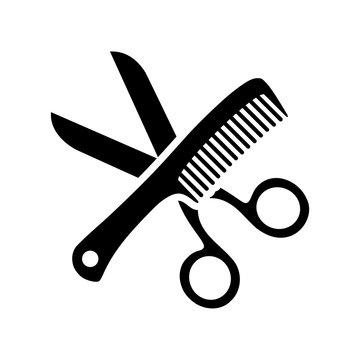 Scissor and Comb icon logo simple illustration