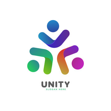 colorful smooth gradient unity, people, social logo vector template