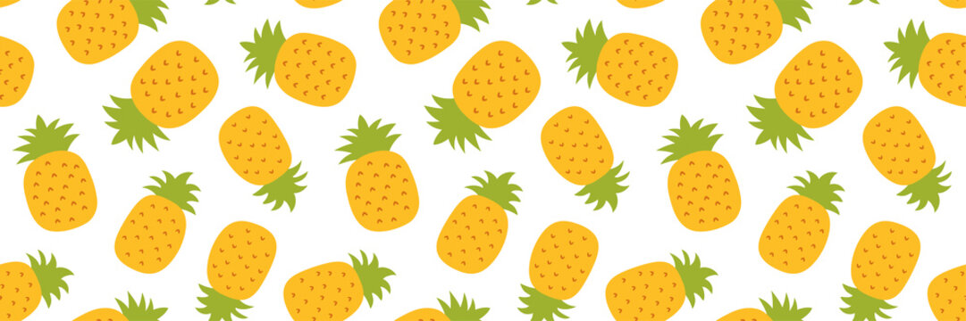 Pineapple seamless pattern. Hand drawn fresh ananas. Vector sketch background. Color doodle wallpaper. Exotic tropical fruit. Fashion design. Food long banner