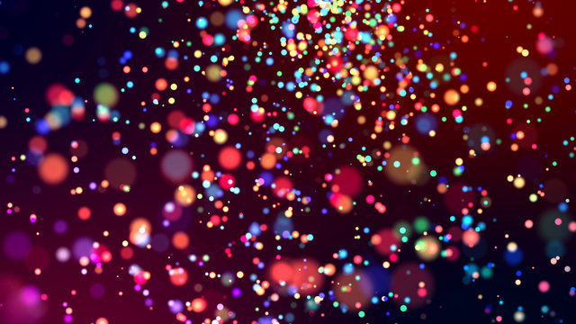 cloud of multicolored particles in the air like sparkles on a dark background with depth of field. beautiful bokeh light effects with colored particles. background for holiday presentations. 48