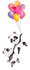 Cute watercolor couple of pandas flying with balloons. Hand drawn illustration, can be used for kid's or baby's shirt design, fashion print design. Happy Birthday greeting card