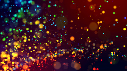 cloud of multicolored particles in the air like sparkles on a dark background with depth of field. beautiful bokeh light effects with colored particles. background for holiday presentations. 140 Fototapete
