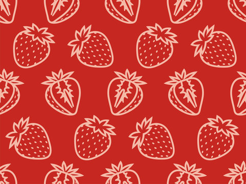Seamless pattern of strawberries. Vector illustration.