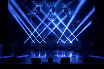 Free stage with lights, lighting devices. - fototapety na wymiar