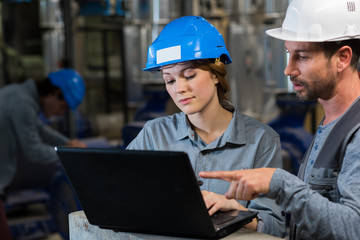 male and female industrial workers looking at laptop