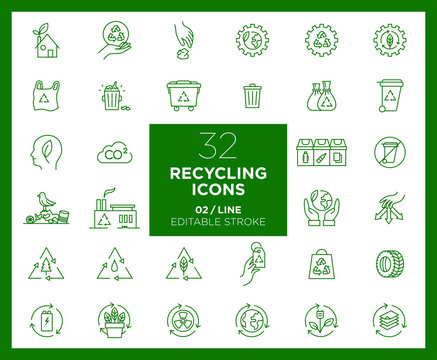 Set of Recycling icons in line