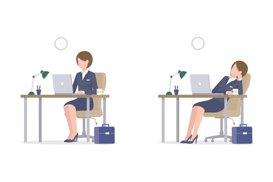 Business woman sitting at the table and using a laptop. Tired girl drinks coffee at work at lunch time. Flat vector illustration isoleted on white background.