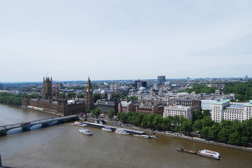 View from London Eye on Houses of Paliament and Westminster Pier