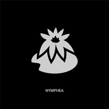 white nymphea vector icon on black background. modern flat nymphea from nature concept vector sign symbol can be use for web, mobile and logo.