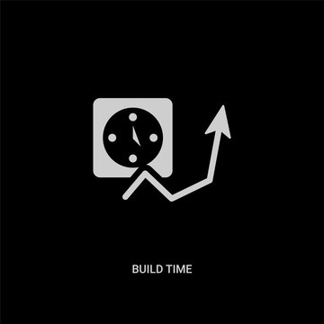 white build time vector icon on black background. modern flat build time from general concept vector sign symbol can be use for web, mobile and logo.