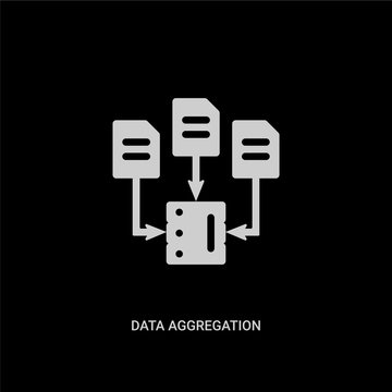 white data aggregation vector icon on black background. modern flat data aggregation from general concept vector sign symbol can be use for web, mobile and logo.