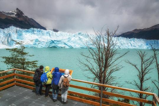 Tourist on the Perito Moreno Glacier. El Calafate, Argentina. Los Glaciares National Park, Patagonia.