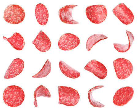 Set of flying cut fresh sausage on white background