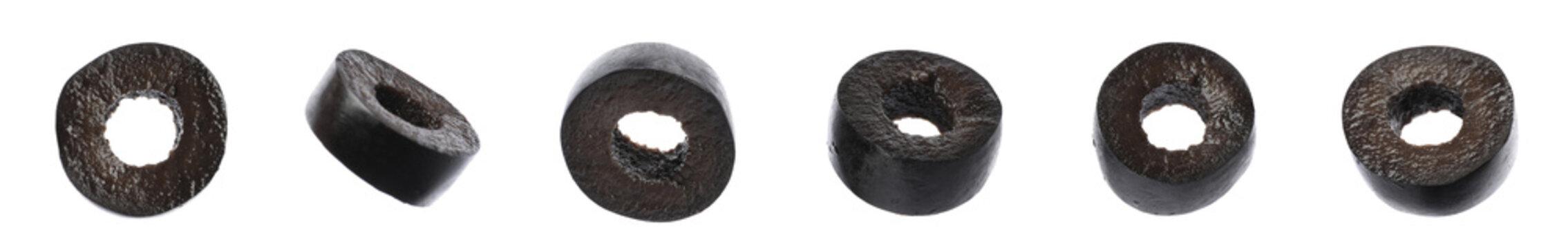 Set of cut black olives on white background. Banner design
