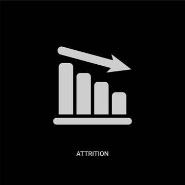 white attrition vector icon on black background. modern flat attrition from human resources concept vector sign symbol can be use for web, mobile and logo.