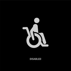white disabled vector icon on black background. modern flat disabled from insurance concept vector sign symbol can be use for web, mobile and logo.