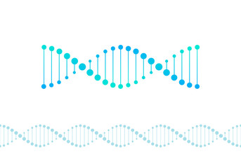 Vector science design elements. Flat blue gradient DNA spiral symbol and horizontal border seamless pattern isolated on white background. Design for scientific banner, poster, logo, infographic, web Wall mural