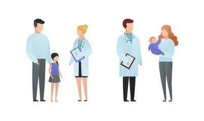 Trendy flat doctor and patient character vector cartoon illustration. Male and female pediatrician talking with parents and childs isolated on white. On picture coat uniform, girl, baby on hands.