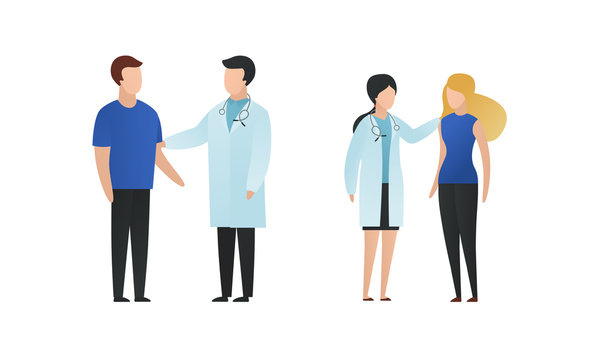 Trendy flat doctor and patient character vector cartoon illustration. Male and female medic saying news, comforts people isolated on white background. Coat uniform, blue cloth, stethoscope.