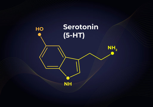 Vector hormones blend banner template. Seratonin (5-HT) structure on in modern gradient 3d background. Hormone assosiated with happines feeling, depression. Design for science, education, presentation