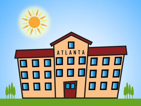 Atlanta Property Block Shows Real Estate Residential Buying 3d Illustration