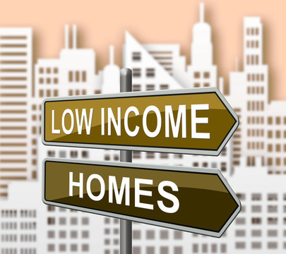 Low Income Home Or House Cityscape Meaning Cheap Housing - 3d Illustration