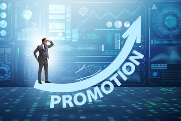 Employee in career promotion concept