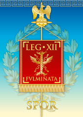 Legio IXII Fulminata, ancient teaches banner legion of the Roman empire, vector illustration