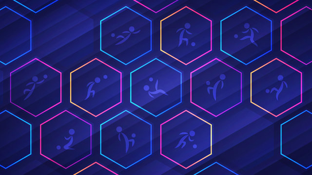 Blue soccer background with glowing neon hexagon cells and soccer player icons